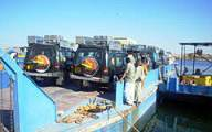 Loading the vehicles onto the ferry in Aswan.  The next we will see the is in Wadi Halfa, Sudan