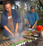 Debs and Thiemo cooking up a storm on an overland tour.