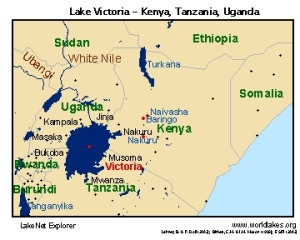 Lake Victoria borders Uganda, Tanzania and Kenya