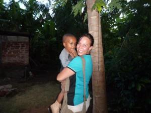 Amanda with a new found friend in Malawi